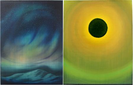 Left: Edouard Wolton, Aurore boréale, 2014 Right:Edouard Wolton, Eclipse, 2013